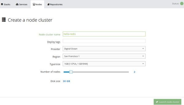 New node cluster settings